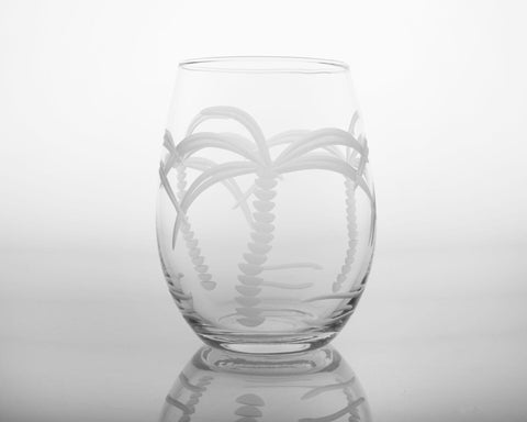 Palm Tree Engraved Glassware - By the Sea Beach Decor