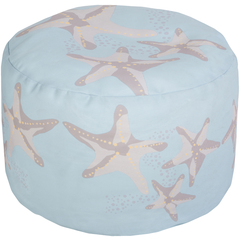 Long Bay Starfish Aqua Pouf - By the Sea Beach Decor