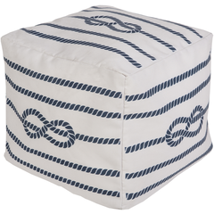 Long Bay Rope Navy Pouf - By the Sea Beach Decor