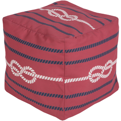 Long Bay Rope Red Pouf - By the Sea Beach Decor