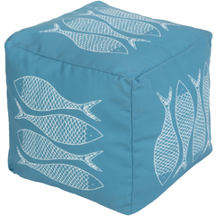 Long Bay Fish Sky Blue Pouf - By the Sea Beach Decor