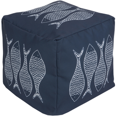 Dark Blue Fish Coastal Seating Pouf