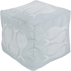 Ice Blue Fish Coastal Seating Pouf