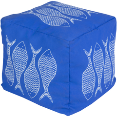Long Bay Fish Blue Pouf - By the Sea Beach Decor