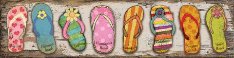 Flip-Flops California Wood Print - By the Sea Beach Decor