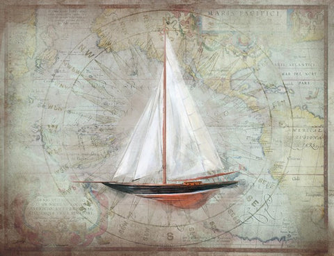 Sloop 1 Wooden Artwork Print - By the Sea Beach Decor