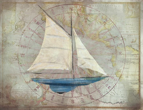 Sloop 2 Wooden Artwork Print - By the Sea Beach Decor