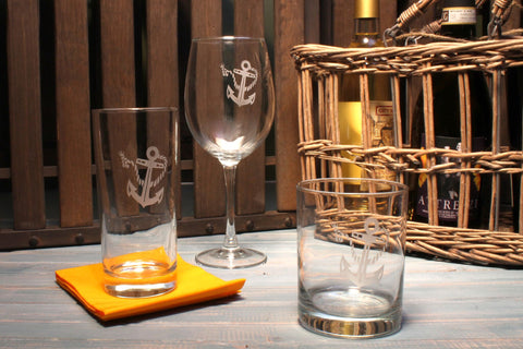 Rope & Anchor Engraved Glassware - By the Sea Beach Decor