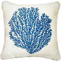 Oceanside Sapphire Sea Fan Pillow - By the Sea Beach Decor