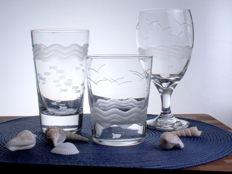 Seabreeze Engraved Glassware - By the Sea Beach Decor