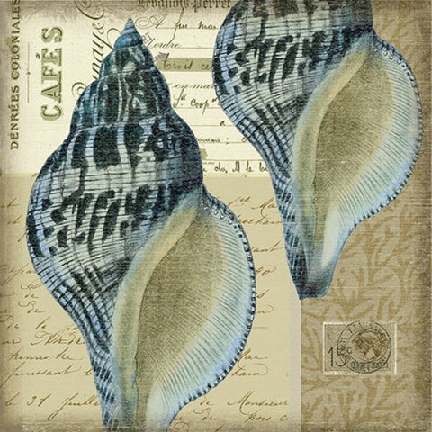 Indigo Shell 3 Wooden Artwork Print - By the Sea Beach Decor