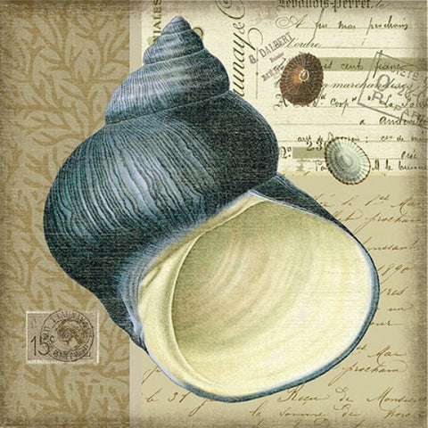 Indigo Shell 2 Wooden Artwork Print - By the Sea Beach Decor