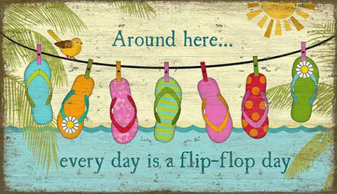 Flip-Flops Everyday Wood Print - By the Sea Beach Decor