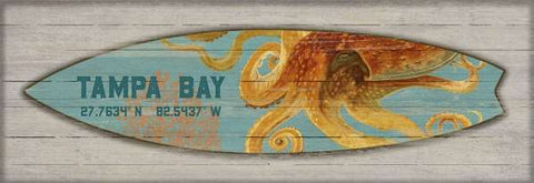 Surfboard Octopus Wood Print Artwork - By the Sea Beach Decor