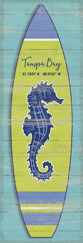 Surf City Vertical Seahorse Surfboard Artwork - By the Sea Beach Decor