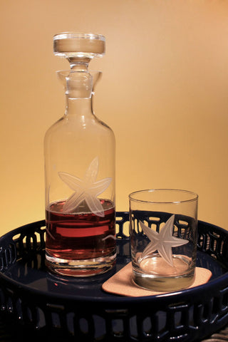 Starfish Engraved Glassware - By the Sea Beach Decor