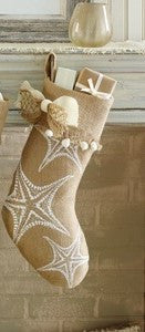 Burlap Starfish Holiday Stocking - By the Sea Beach Decor