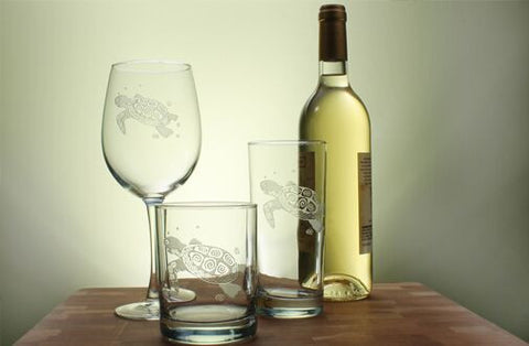 Sea Turtle Engraved Glassware - By the Sea Beach Decor