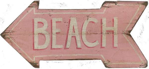 Pink Beach Arrow Wood Print - By the Sea Beach Decor