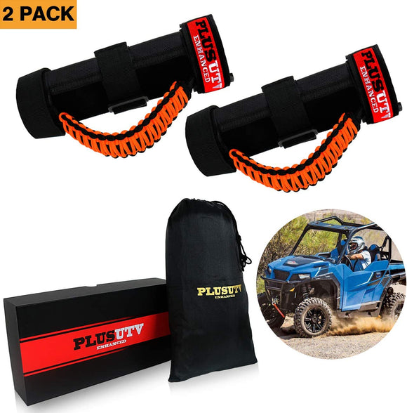 PLUSUTV PLUSUTV 2PCS Orange Triple Straps Roll Bar Grab Handles Grips for UTV & ATV and Polaris Ranger RZR, Strap Fits 1.75 to 2 Inch Bars
