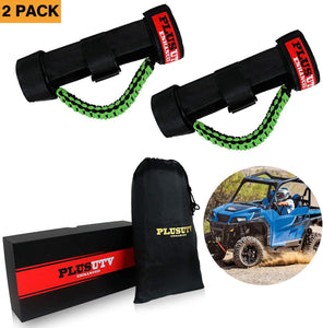 PLUSUTV PLUSUTV 2PCS Green Triple Straps Roll Bar Grab Handles Grips for UTV & ATV and Polaris Ranger RZR, Strap Fits 1.75 to 2 Inch Bars