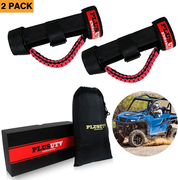 PLUSUTV PLUSUTV 2PCS Red Triple Straps Roll Bar Grab Handles Grips for UTV & ATV and Polaris Ranger RZR, Strap Fits 1.75 to 2 Inch Bars