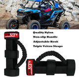 PLUSUTV PLUSUTV 2PCS Black Triple Straps Roll Bar Grab Handles Grips for UTV & ATV and Polaris Ranger RZR, Strap Fits 1.75 to 2 Inch Bars