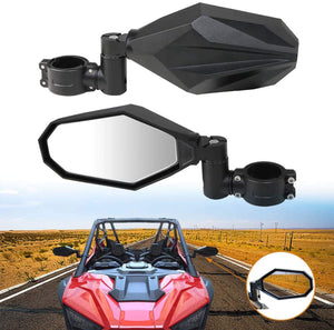 UTV Side Mirrors Aluminium Adjustable Rear Side View Mirror For 1.75-2 inch round tube Polaris Ranger 570 900 XP 1000 Can Am Maverick X3 Max Turbo Maverick Gator Yamaha Kawasaki Honda ATV