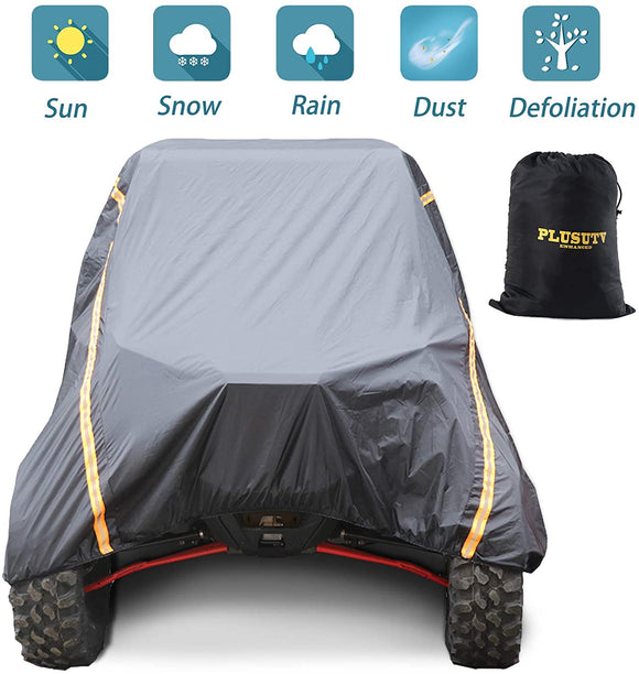 For 4 Seat Waterproof Windproof UTV Cover Dustproof Storage Cover for Polaris Ranger RZR 570 700 800 900 S 1000 XP 4Door 2015-2020 Heavy Duty 190T PU Material with 2 Night Reflective Stripes and Carrying Bag