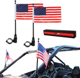 2 X UTV Flag Pole Holder 360° Adjustable Bracket Mount for Polaris RZR Ranger Can Am 1.75-2 inch Roll Bar Flagpole Set US Flag Black Aluminum Alloy