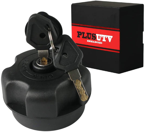 PLUSUTV Fuel Gas Cap Tank W/ Lock for UTV Polaris RZR 500 570 700 800 900 1000 2015-2020, 2 key Car Powersports Gas Caps Lock Black