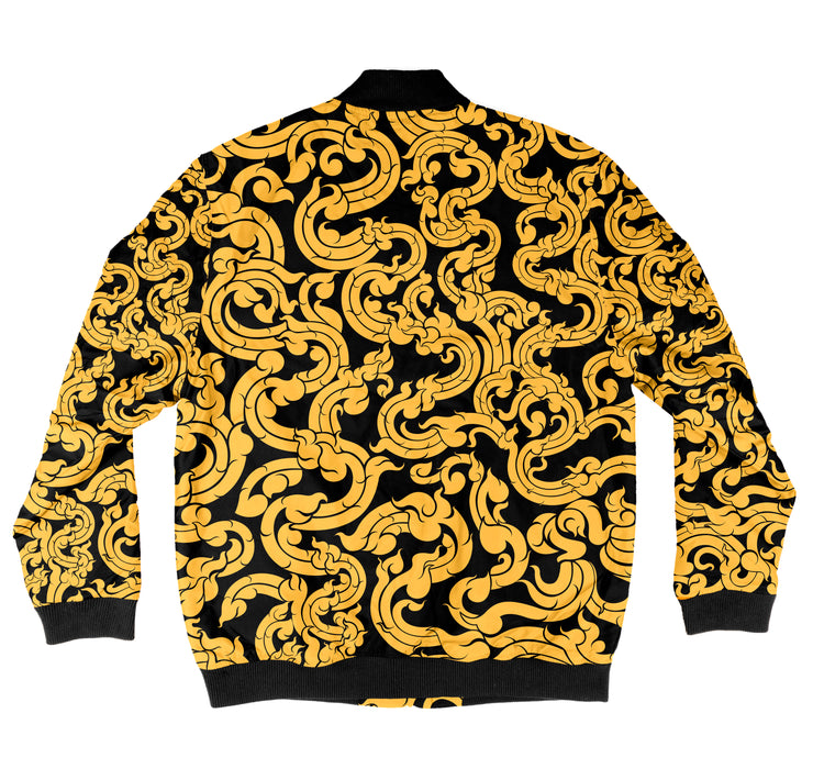 Gold Pattern Bomber Jacket + FREE MATCHING MASK!