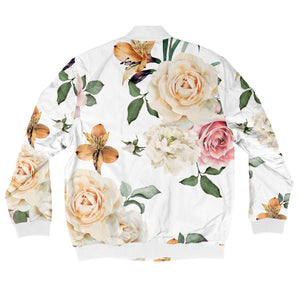 White Roses Bomber Jacket + FREE MATCHING MASK!