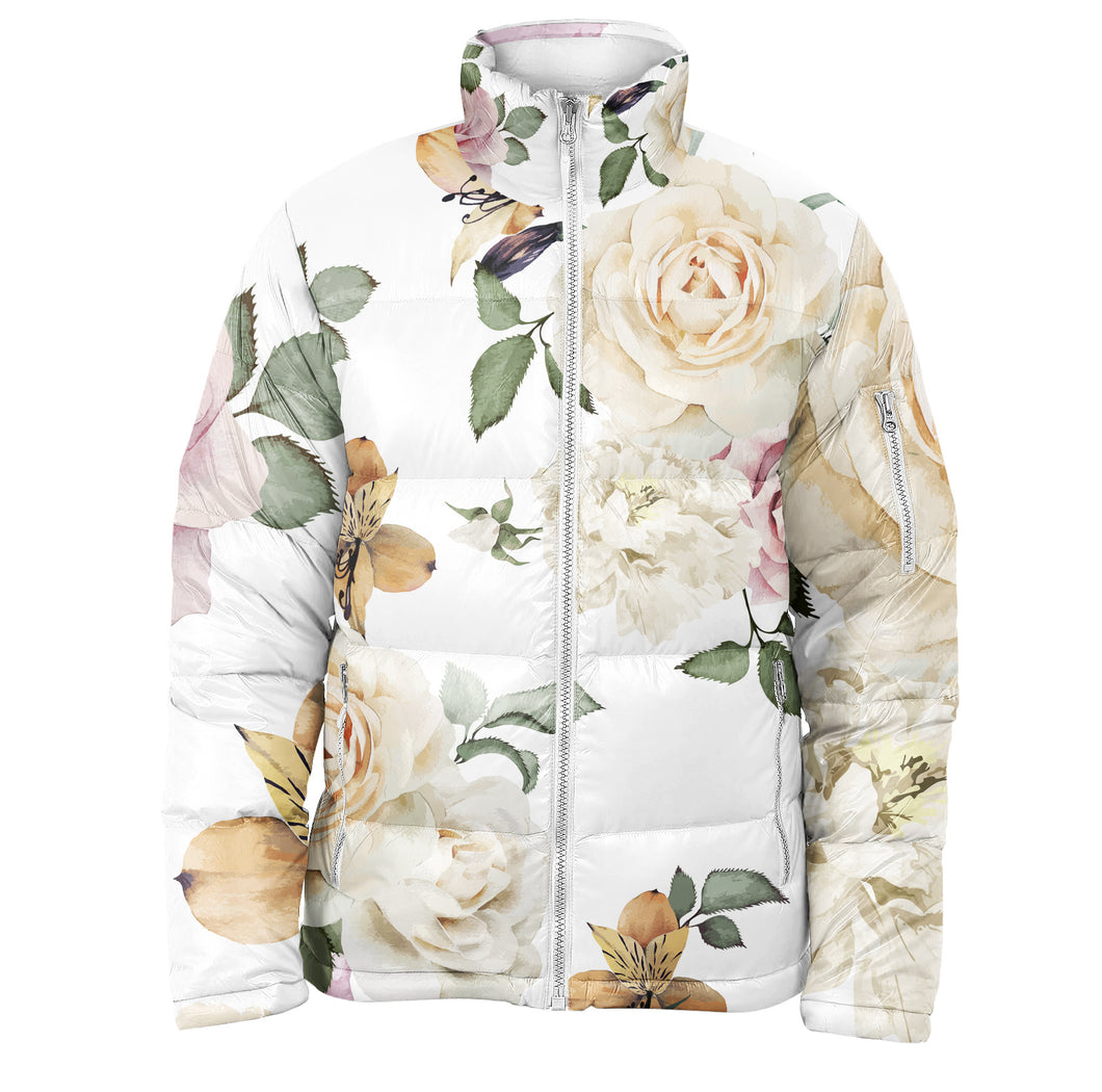 White Roses Puffer Jacket