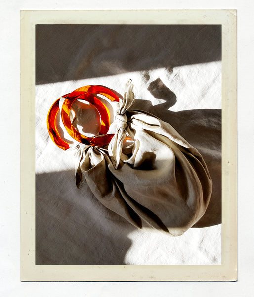 Anouk Gania Linen Furoshiki Bag in Bone with Resin handles