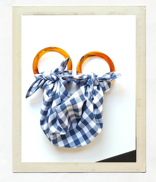 Anouk Gania Linen Furoshiki Bag in Gingham with Resin Handles