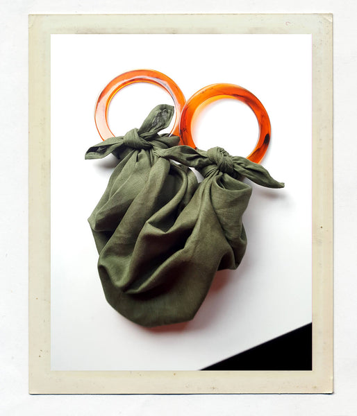 Anouk Gania Linen Furoshiki Bag in Jungle Green with Resin handles