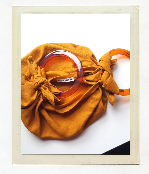 Anouk Gania Linen Furoshiki Bag in Ochre with Resin Handles