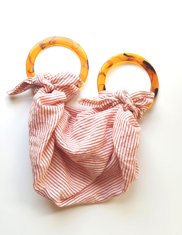 Anouk Gania Furoshiki Bag Red Stripe Resin Handles