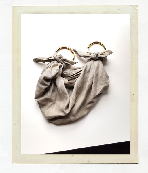 Anouk Gania Linen Furoshiki Bag in Bone with Brass handles
