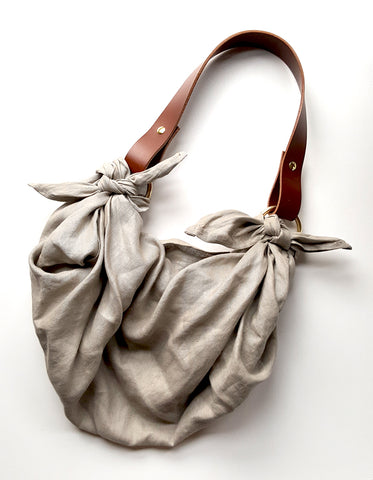 Anouk Gania Furoshiki Bag Bone Italian Leather Handles