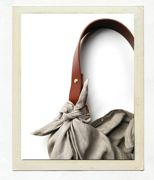 Anouk Gania Linen Furoshiki Bag in Bone with Leather handle