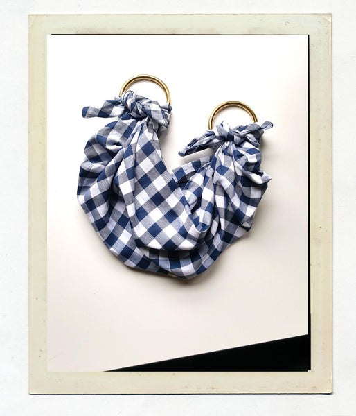 Anouk Gania Linen Furoshiki Bag in Gingham with Brass Handles