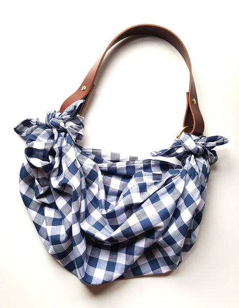 Anouk Gania Furoshiki Bag Gingham Italian Leather Handles