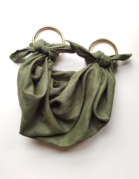 Anouk Gania Furoshiki Bag Jungle Green Brass Handles