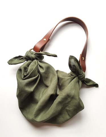 Anouk Gania Furoshiki Bag Jungle Green Italian Leather Handles