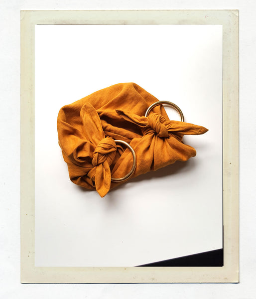 Anouk Gania Linen Furoshiki Bag in Ochre with Brass Handles