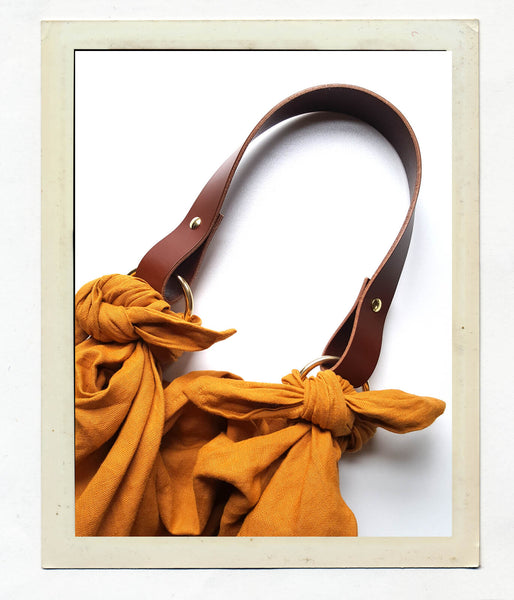 Anouk Gania Linen Furoshiki Bag in Ochre with Leather handle