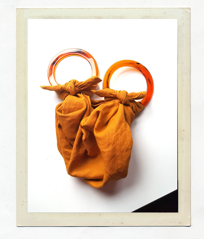 ANOUK GANIA LINEN FUROSHIKI BAG WITH RESIN HANDLES