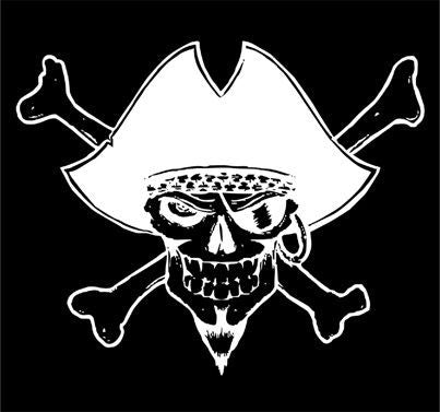 Pirates Jolly Roger Rub-on Skull Sticker